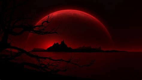 Blood Red Moon HD Desktop Background