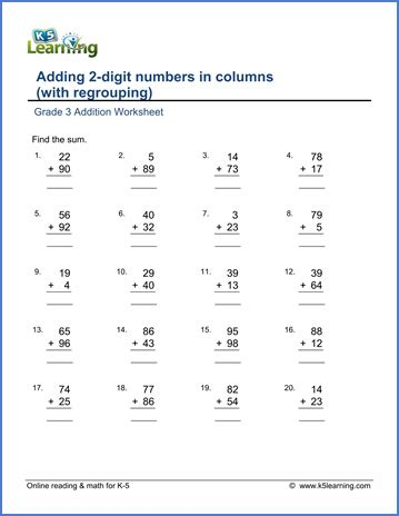 grade math worksheet addition with regrouping addition worksheets add 2 digit numbers in columns with