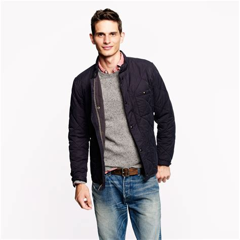 j crew quilted jacket j crew sussex quilted jacket in blue for vintage navy