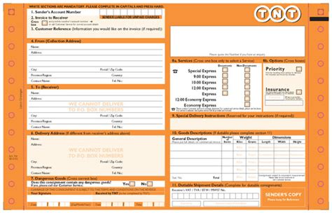 tnt commercial invoice template invoice