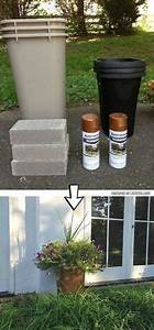 diy concrete block planters small patio balconies and With katzennetz balkon mit makita garden sprayer