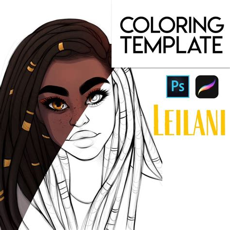 leilani  psd  procreate coloring template