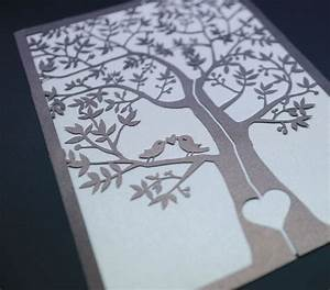 one sample laser cut tree and love birds wedding With laser cut palm tree wedding invitations