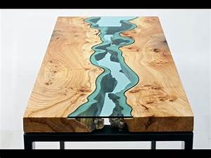 Wood Tables Embedded with Glass Rivers - YouTube