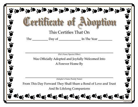 Adoption Certificate Certificate Blank Adoption Certificate 9 Town Ken More