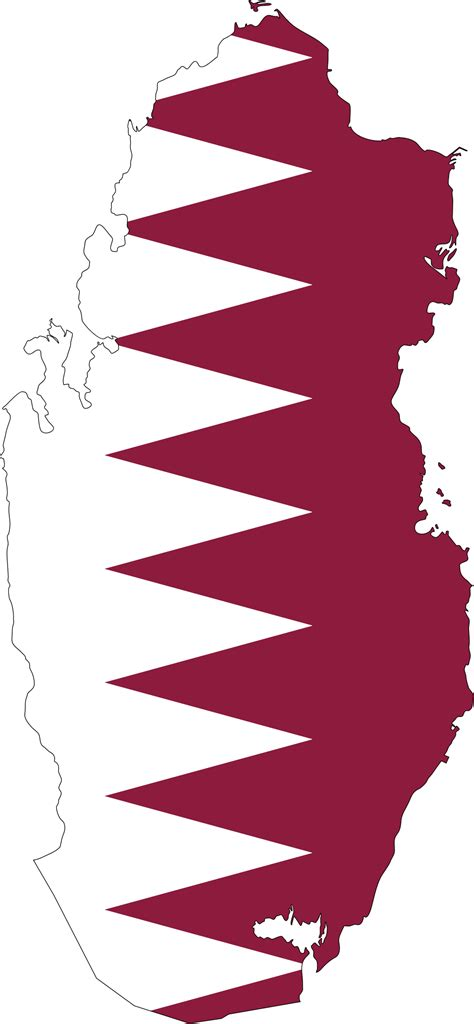 Clipart - Qatar Map Flag With Stroke