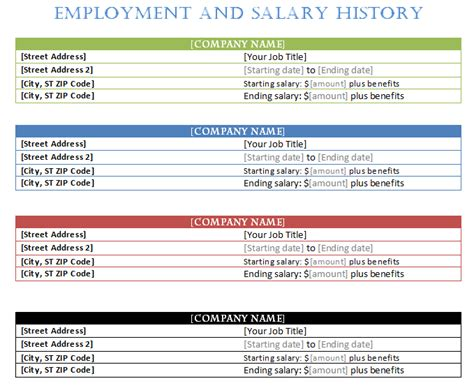 history template employment history template word templates