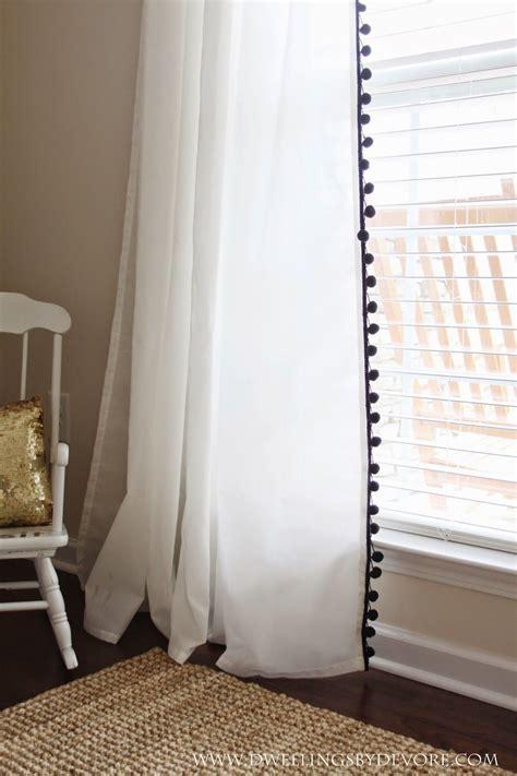 inexpensive draperies add pom pom trim to inexpensive ikea curtains 9 99 pair