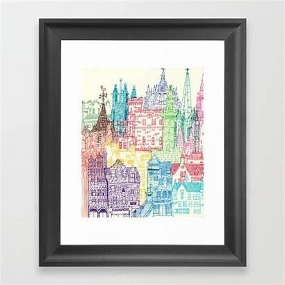 Framed Edinburgh Towers Prints Society6