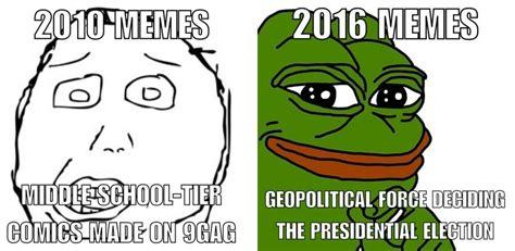 Meme Vs Meme - 2010 vs 2016 memes pepe the frog know your meme