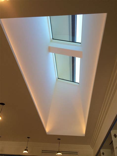 lights that look like sunlight skylight and light well with led strips hidden along the