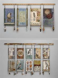 Mixed media wall hangings by textile artist sharon