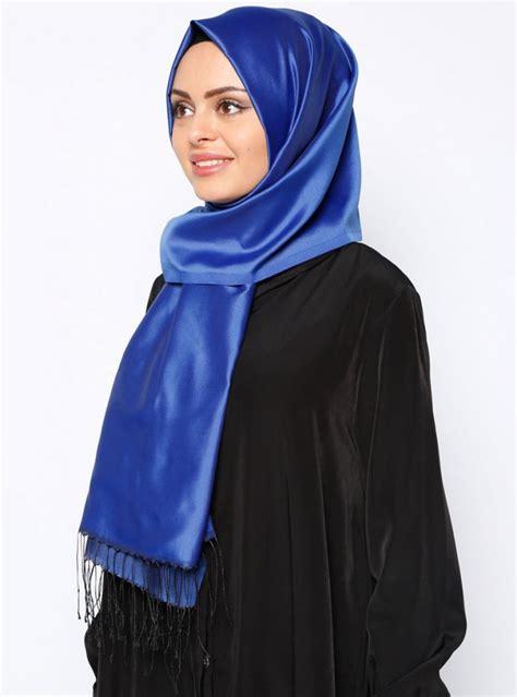banu navy blue fringed hijab  ecardin ayisahcom