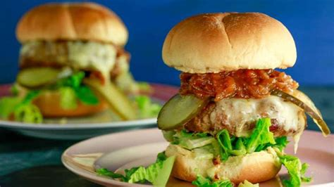 spicy turkey burgers  barbecued onions rachael ray show