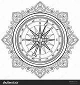 Compass Coloring Nautical Rose Wind Vector Line Drawing Drawn Graphic Tumblr Illustration Pages Adult Adults Geography Shutterstock Getdrawings sketch template