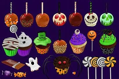 Halloween Sweets Treats Clipart Cart Illustrations