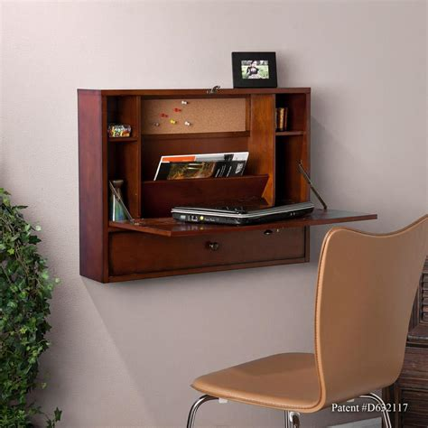 wall mounted desk amazon com sei wall mount laptop desk brown mahogany