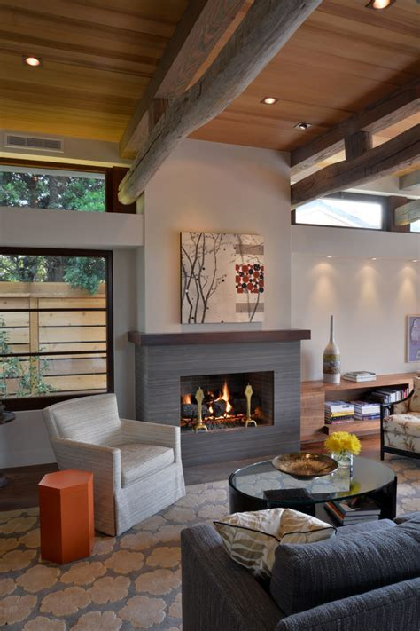 natural stone fireplaces Living Room Farmhouse with