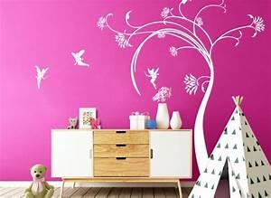 Baum Mit Blüten : wandtattoo baum mit bl ten feen w5138 m dchen kinderzimmer wandtattoos nach zimmer ~ Frokenaadalensverden.com Haus und Dekorationen
