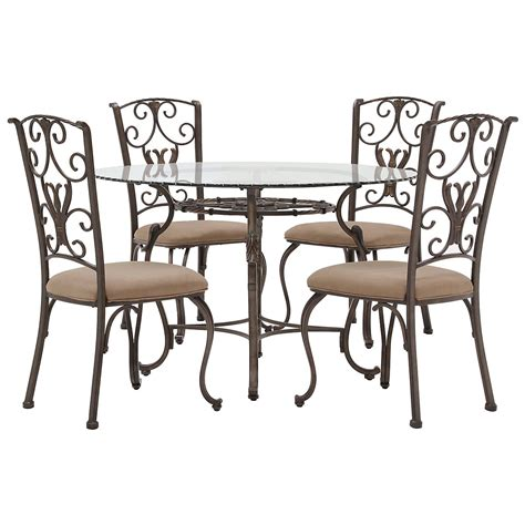 Westcot2 Round Glass Table 4 Chairs