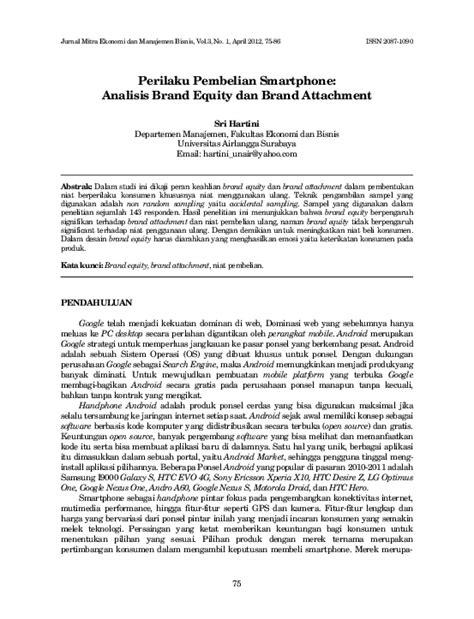 (PDF) Perilaku Pembelian Smartphone: Analisis Brand Equity