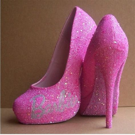 Shoes Heels Barbie Model Pink Glitter Fashion Glamour Style Girl Wheretoget
