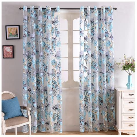 tropical leaves print sheer curtains
