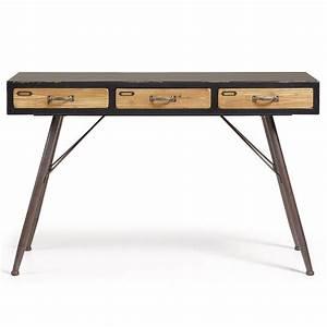 Console Metal Et Bois : console industrielle en bois et m tal 3 tiroirs refe par ~ Teatrodelosmanantiales.com Idées de Décoration