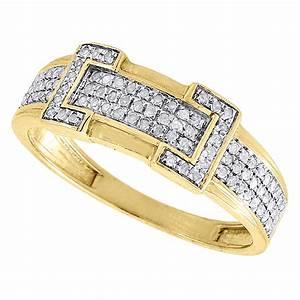 Diamond trio set 10k yellow gold ladies engagement ring for Mens diamond wedding rings yellow gold