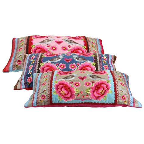 birds single flower pillow heritage lace