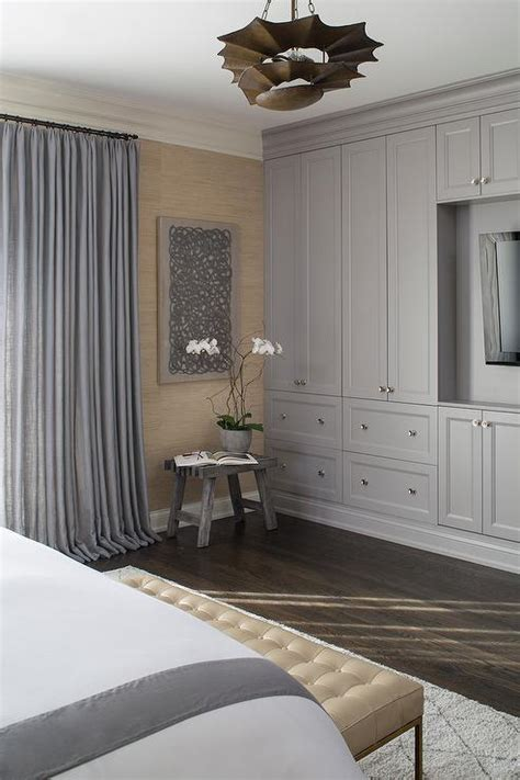 Bedroom Cabinets Grey master bedroom with gray built in cabinets contemporary