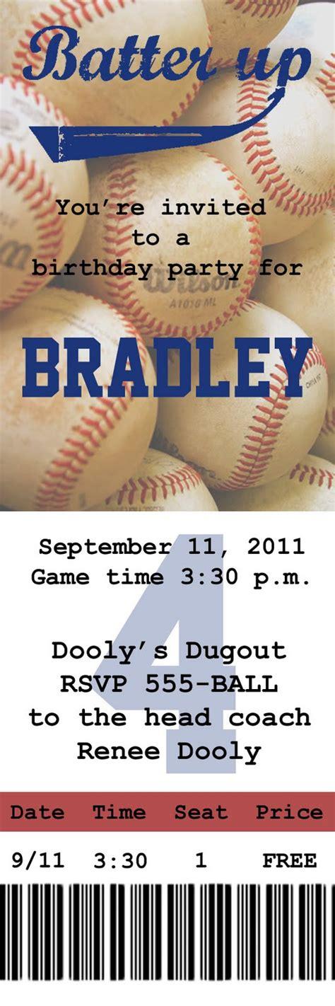 baseball ticket gobs of giggles baseball invite