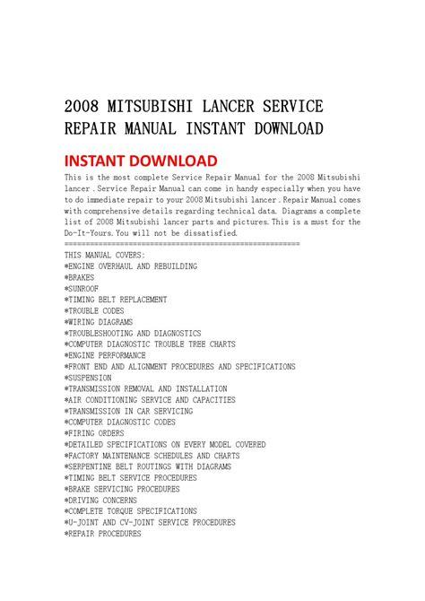 Mitsubishi Lancer Service Repair Manual Instant