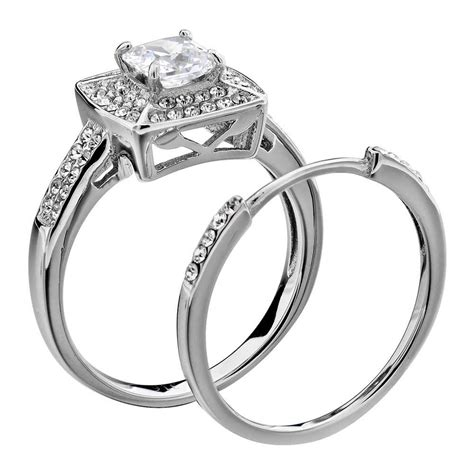 Wedding Ring Set Stainless Steel Princess Cut Aaa Cz Cubic