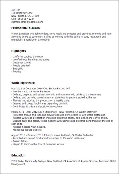 sample waiter resume describe waiter job resume