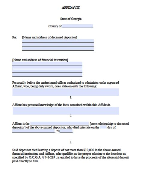 georgia small estate affidavit form free georgia small estate banking affidavit form pdf word