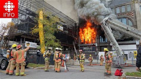 incendie majeur dans un bâtiment patrimonial du quartier l 39 édifice robillard ravagé par les flammes au centre ville
