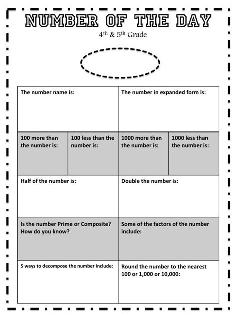4th 5th grade number of the day worksheet 4th grade math