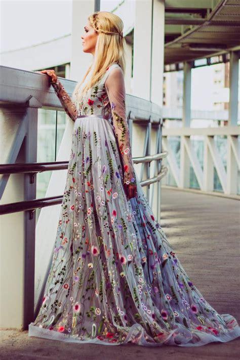 flower wedding dress gray color wedding dress