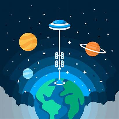 Space Illustration Vector Elevator Invaders Graphics Clipart