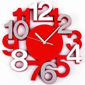 Horloge Murale Rouge : pendule murale horloge design chiffres gris rouge silencieuse ~ Teatrodelosmanantiales.com Idées de Décoration