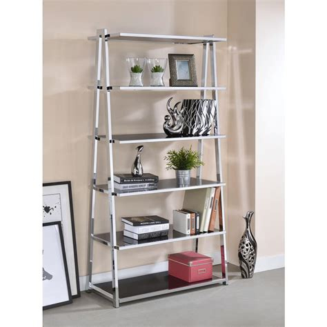 Black High Gloss Bookcase by Acme Furniture Coleen Black High Gloss And Chrome Leaning