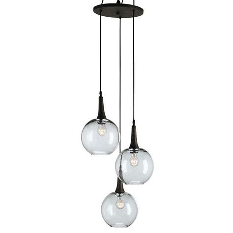 Emery Modern Trio Adjustable Round Glass Pendant Light