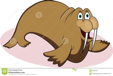 Funny Walrus Cartoon Stock Vector. Illustration Of Over