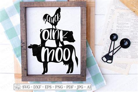 cluck oink moo chicken pig  farmhouse kitchen svg dxf  cut files design bundles