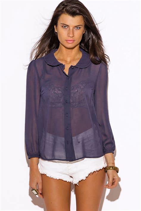 sheer chiffon blouse shop wholesale womens navy blue sheer chiffon blouse top