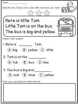 kindergarten reading comprehension  fluency