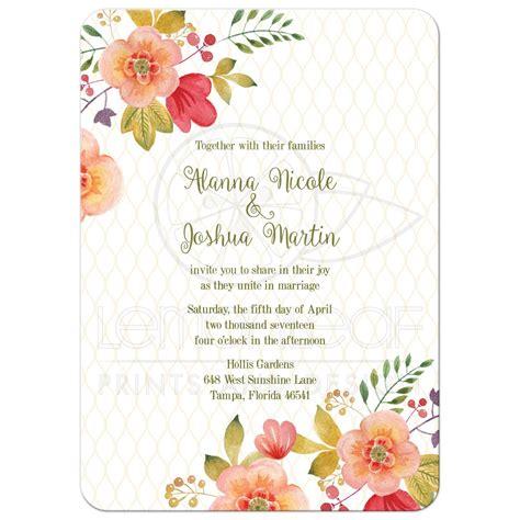 floral wedding invitation olive green  pink
