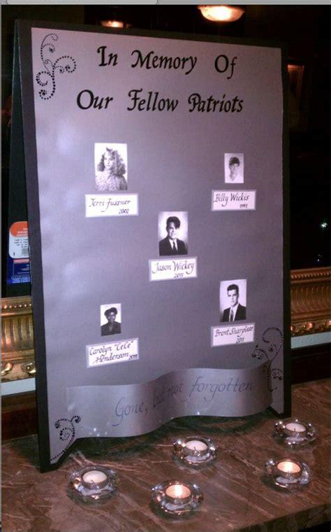 memory wall  deceased classmates reunion displays