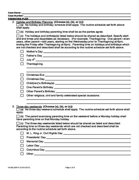 parenting plan form  hampshire